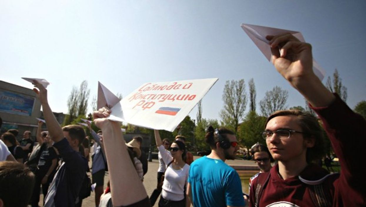 Protesters during a rally to support Telegram in Kaliningrad on April, 30