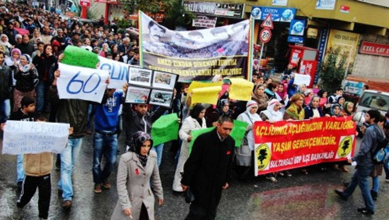 Protesters from the pro-Kurdish Peace and Democracy Party (BDP)