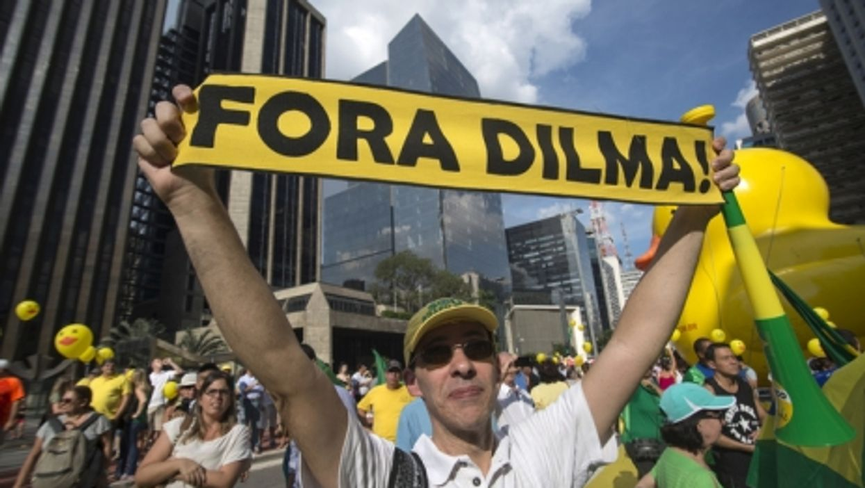 Protesters in favor of President Dilma Rousseff's impeachment, April 3, 2016