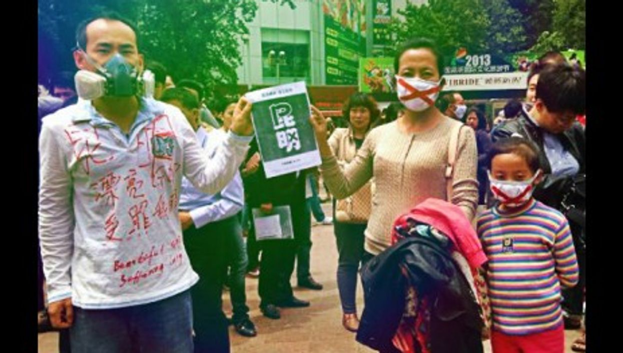 Protesters in Kunming on May 4, 2013