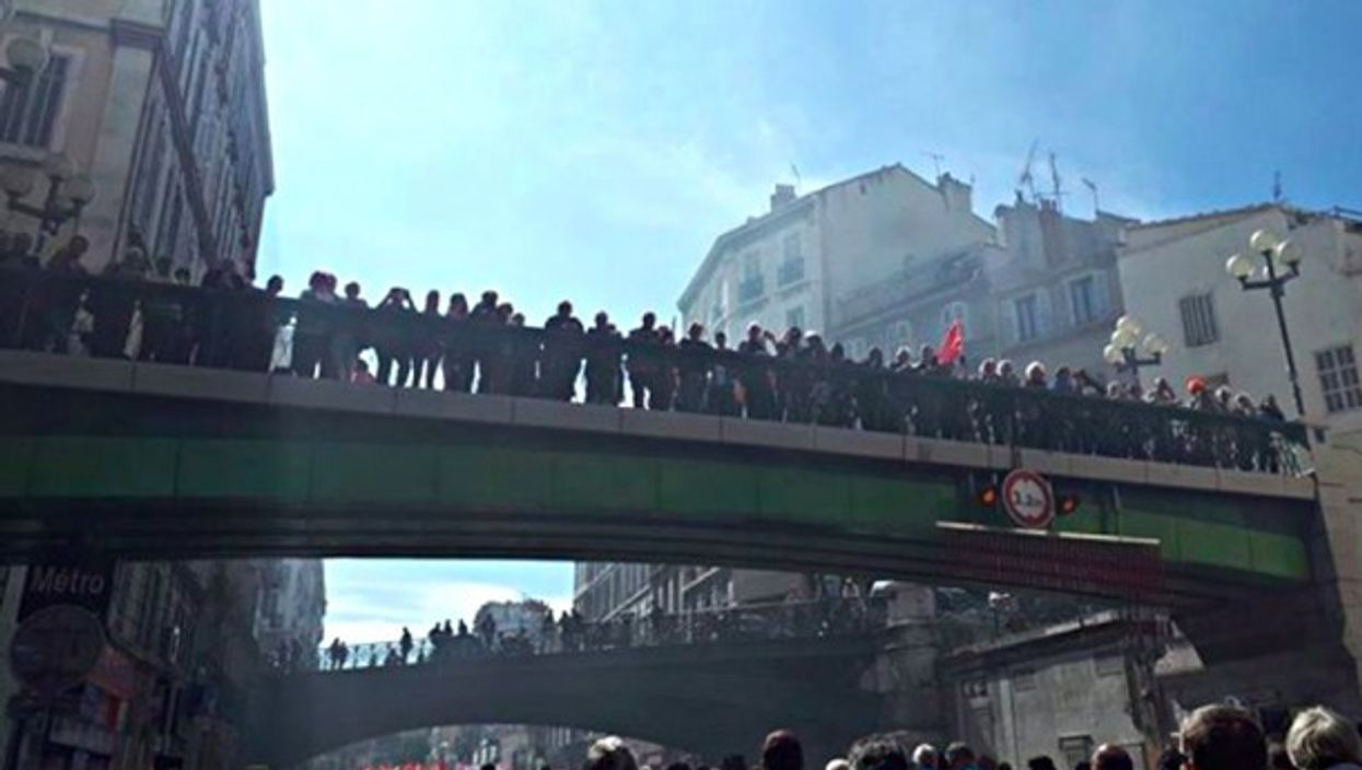 Protesters in Marseille on Tuesday