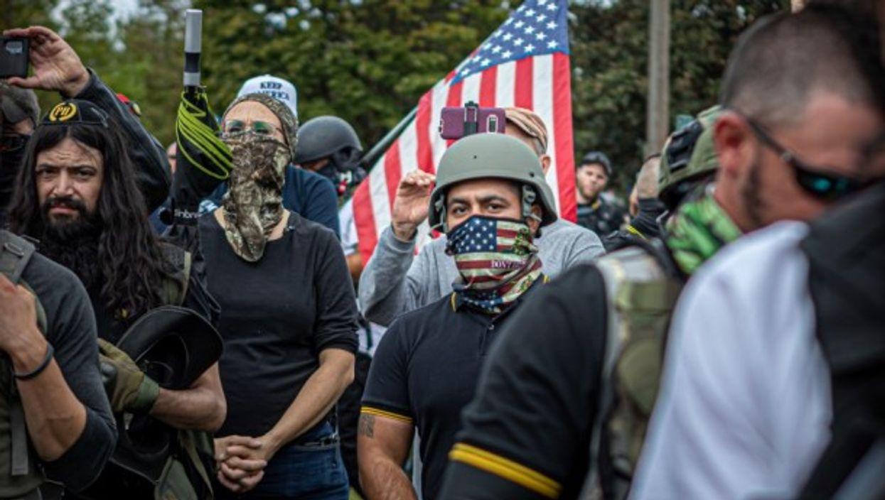 Protesters in Portland, Oregon in September