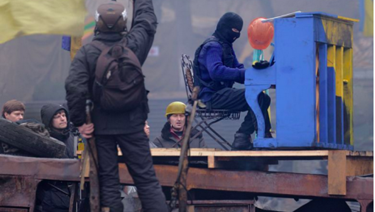 Protesters sing the blues in the Ukrainian capital