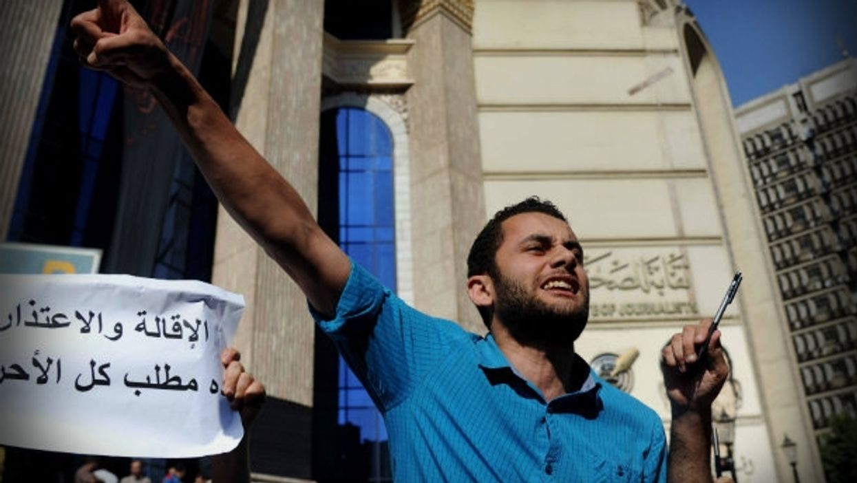 Protesting last May against the jailing of Egyptian journalists.