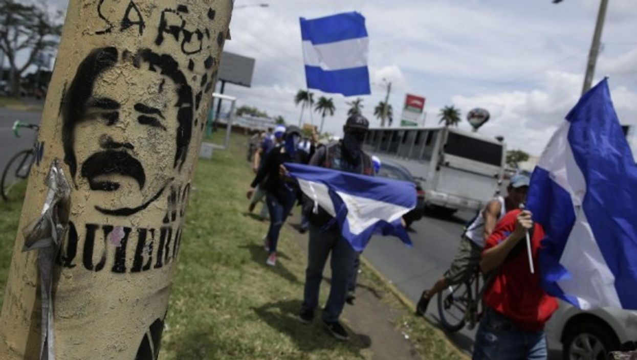 Protestors in Managua, Nicaragua on the 'International Day of the Disappeared'