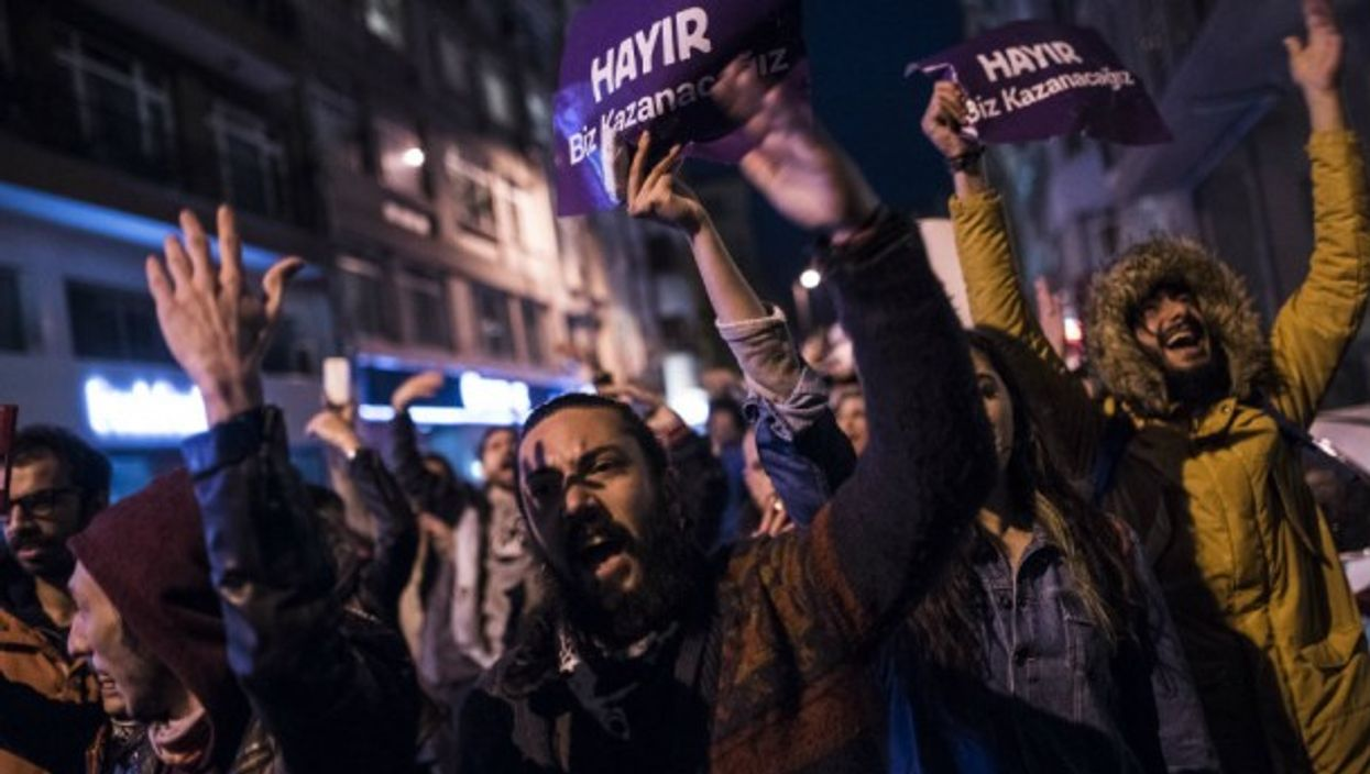Protestors took to the streets of Istanbul to rally against the referendum results on April 17.