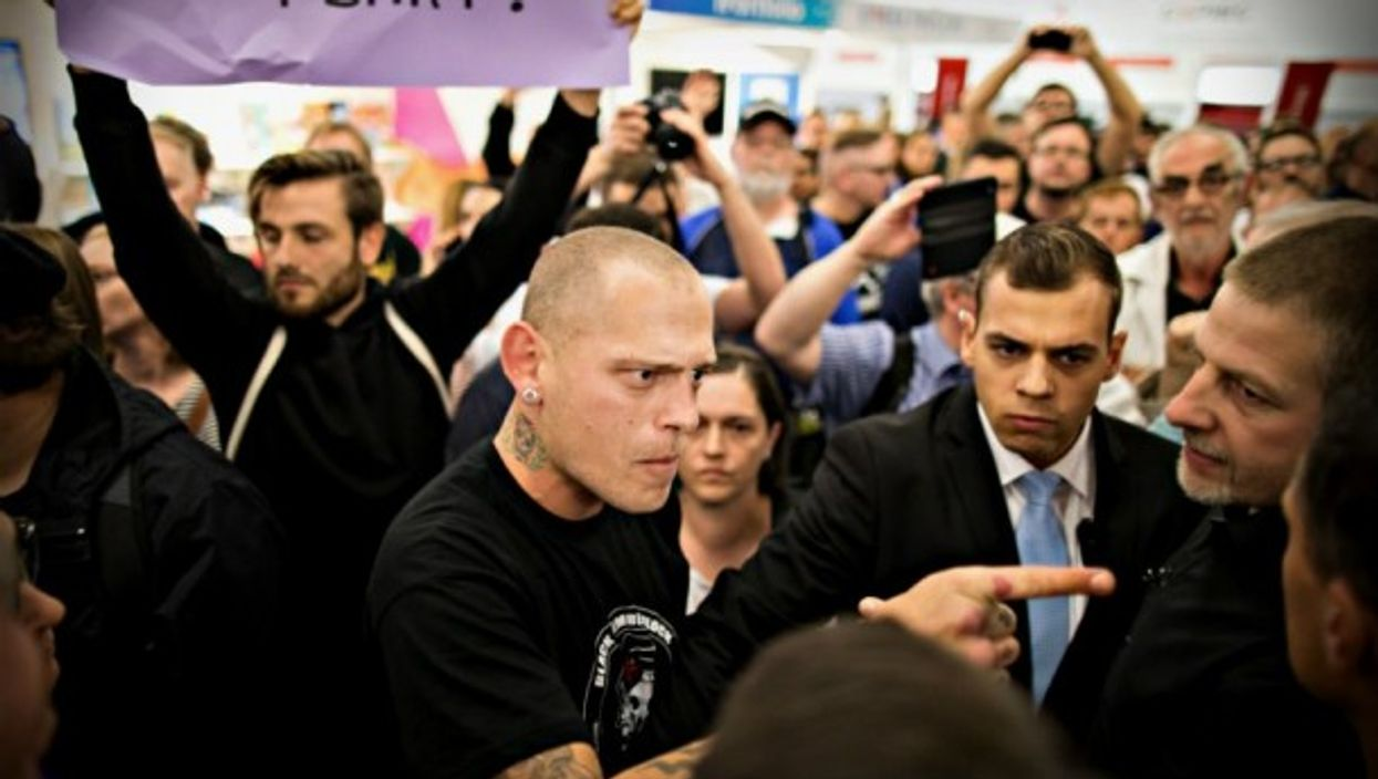 Protests at Frankfurt book fair against Bjorn Hocke of far-right AfD party