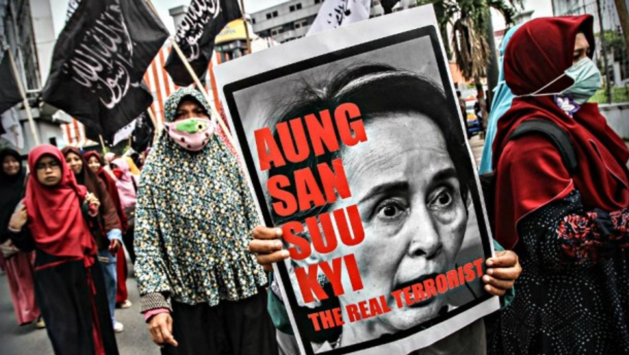 Protests in Indonesia against Aung San Suu Kyi