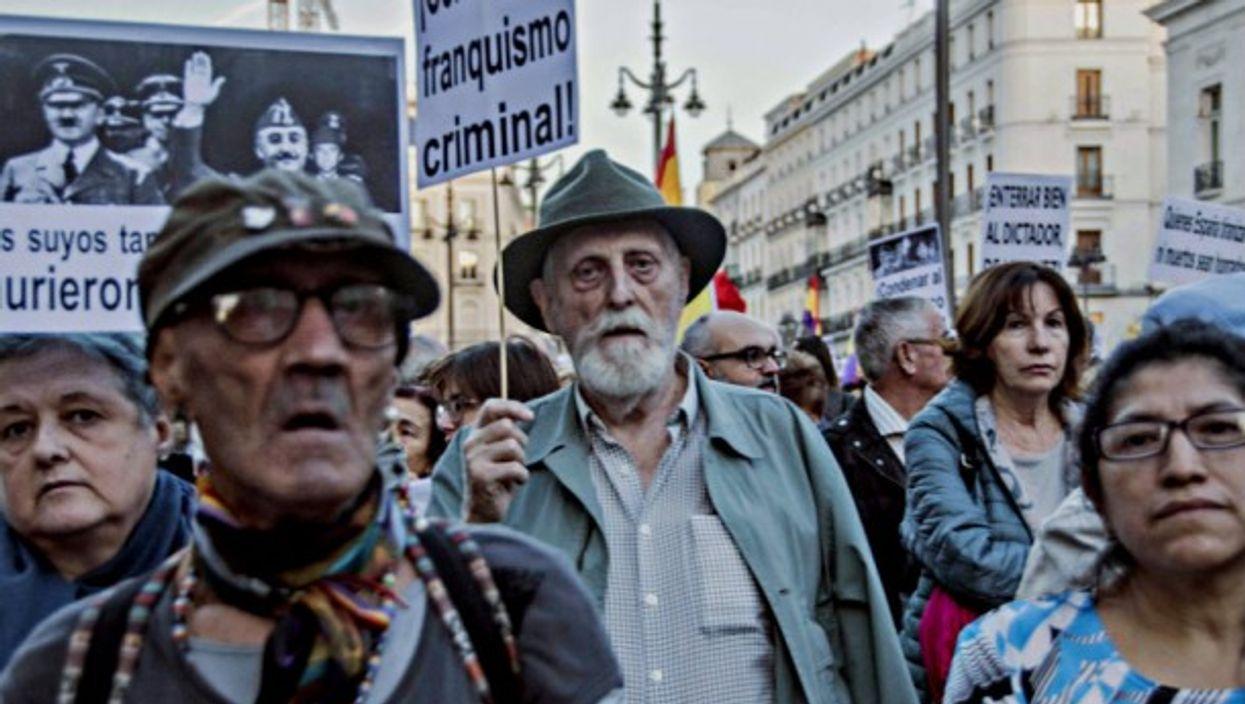 Protests in Madrid in October against plans to honor Franco.