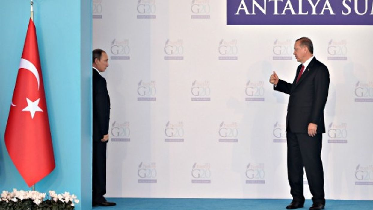 Putin and Erdogan at the G20 Summit in Antalya in November