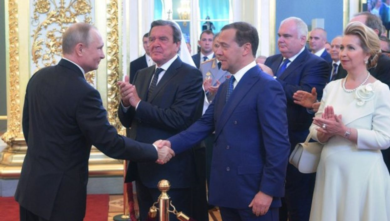 Putin and Medvedev, as Schröder waits his turn on Monday