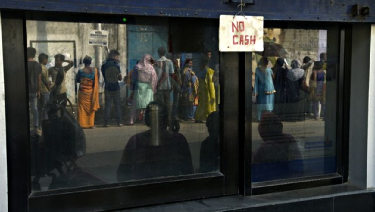 Queuing for cash in India