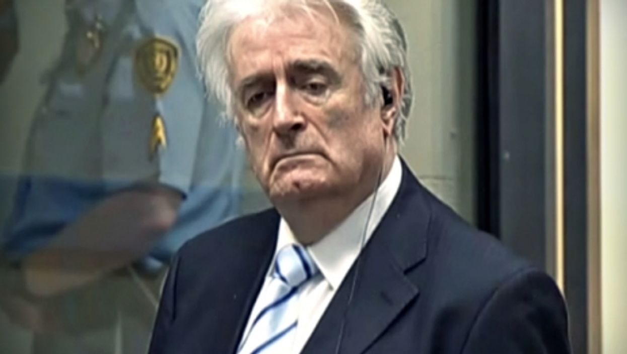 Radovan Karadzic as the verdict was being read at The Hague