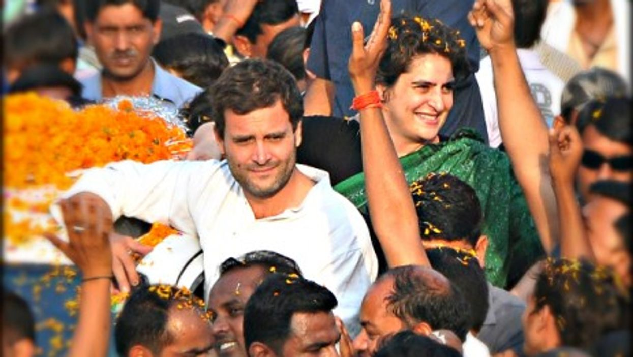 Rahul and Priyanka Gandhi in Uttar Pradesh on May 4, 2014