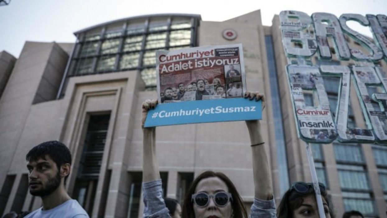 Rally in support of Cumhuriyet journalists in Istanbul on July 24