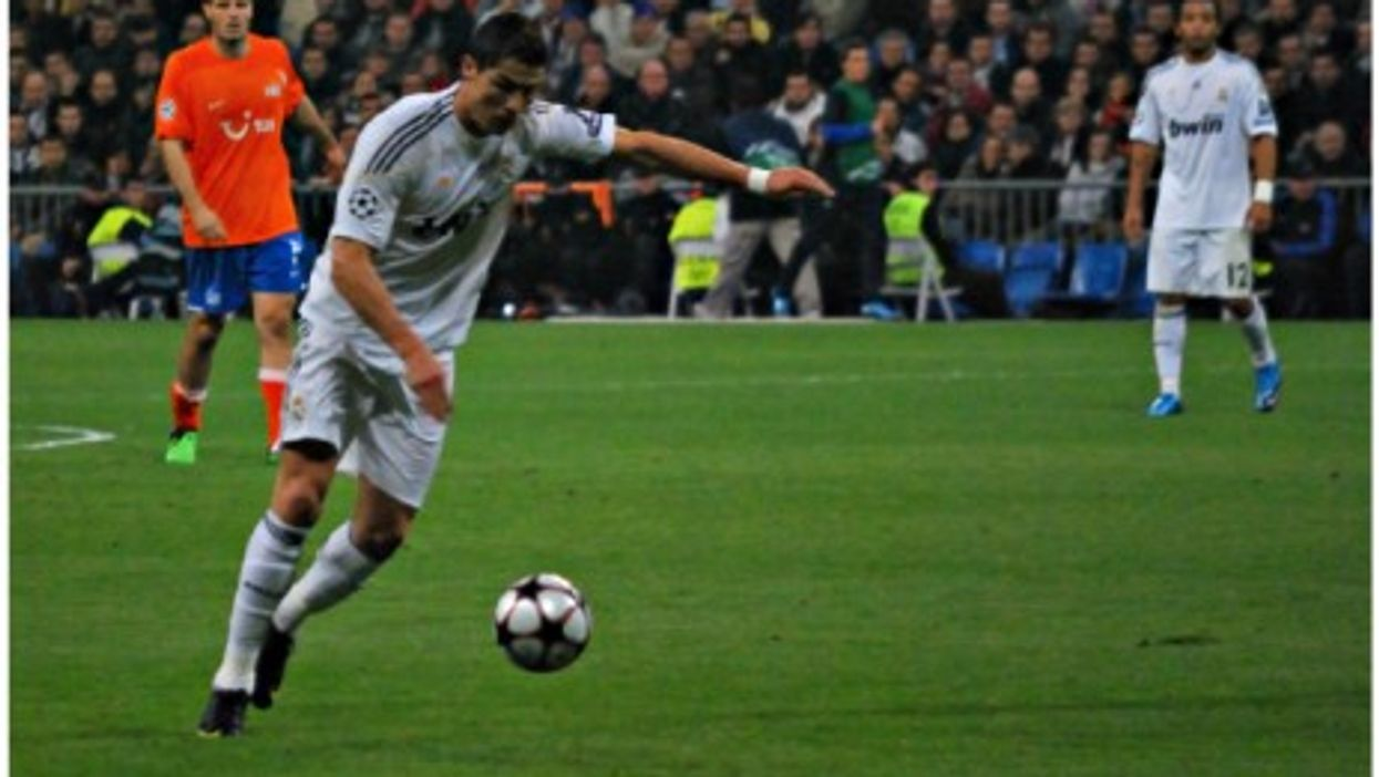 Real Madrid's Cristiano Ronaldo became the first soccer player to score 16 goals in a single Champions' League campaign.
