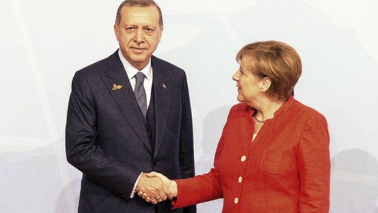 Recep Tayyip Erdogan and Angela Merkel in Hamburg