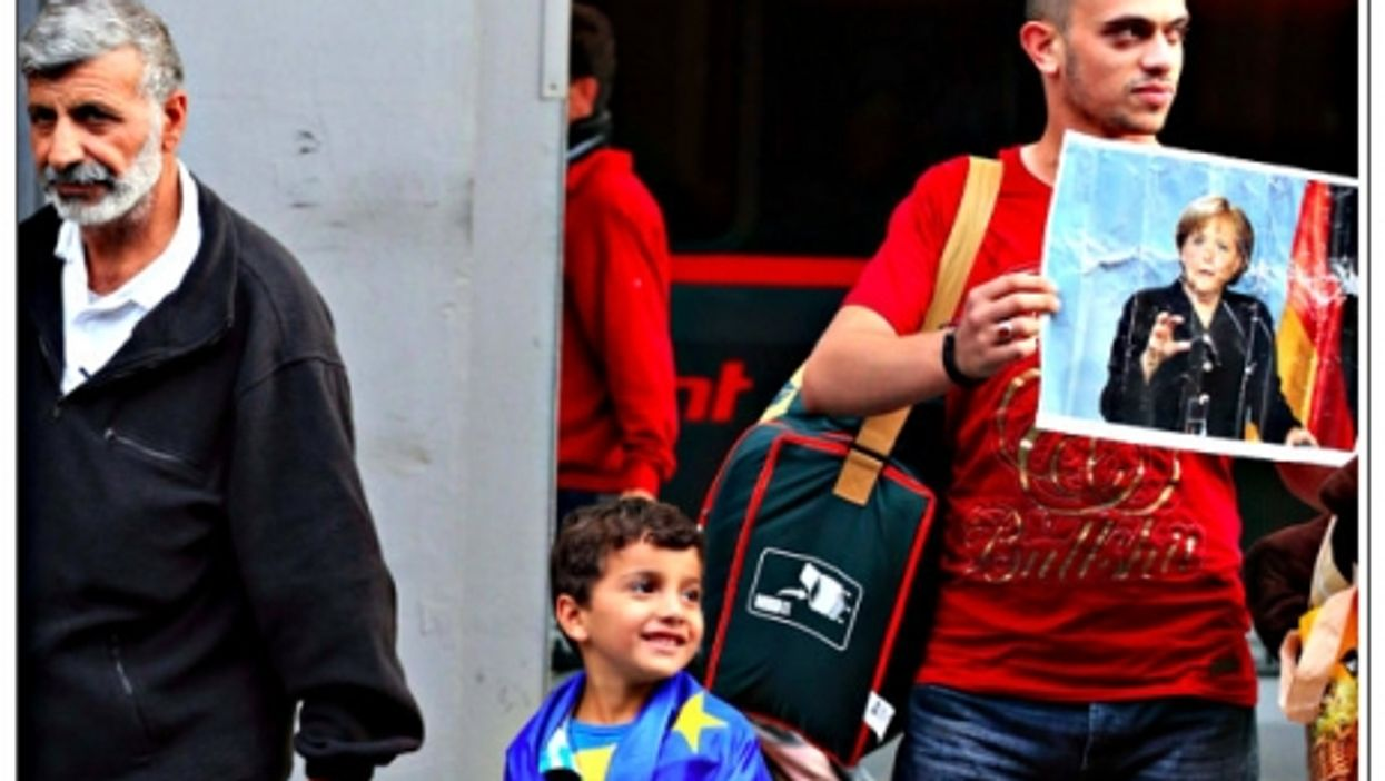 Refugees arriving at the Munich train station on Sep. 5
