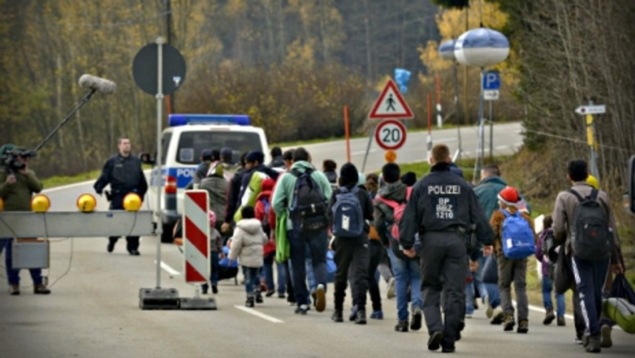 Refugees at the Austrian-German border last month
