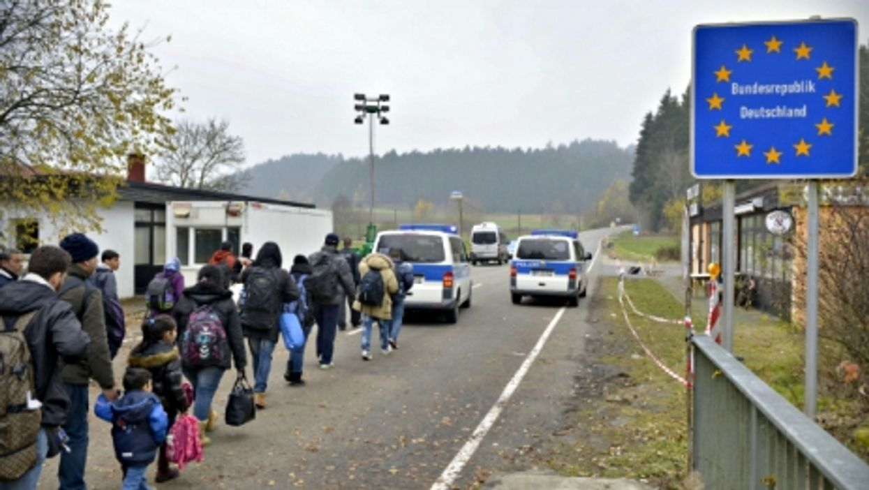 Refugees at the Austrian/German border