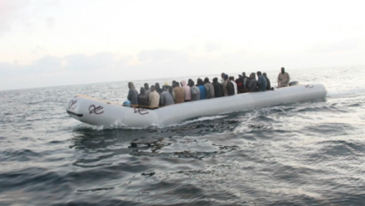 Refugees on a rubber boat