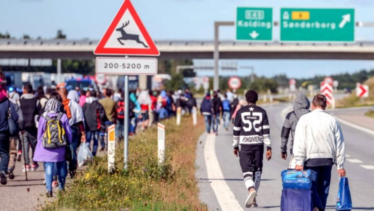 Refugees walking along a Danish road in 2015