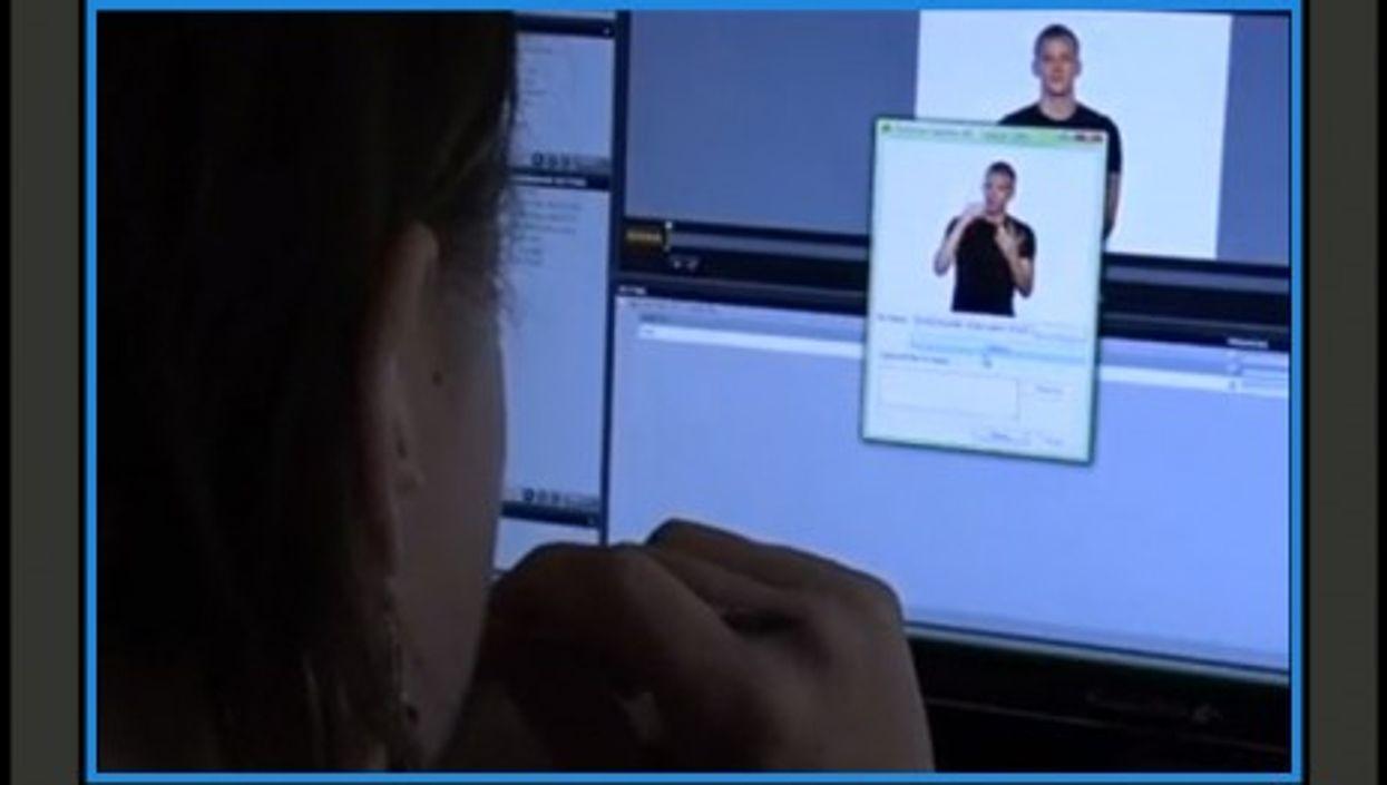 Remote live sign interpreters help deaf people via videophone calls