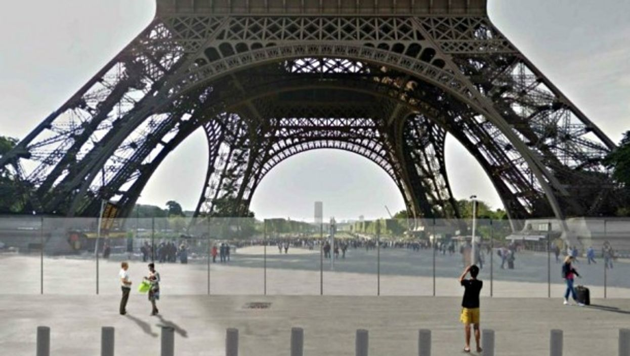 Rendering of the Eiffel Tower's glass wall project