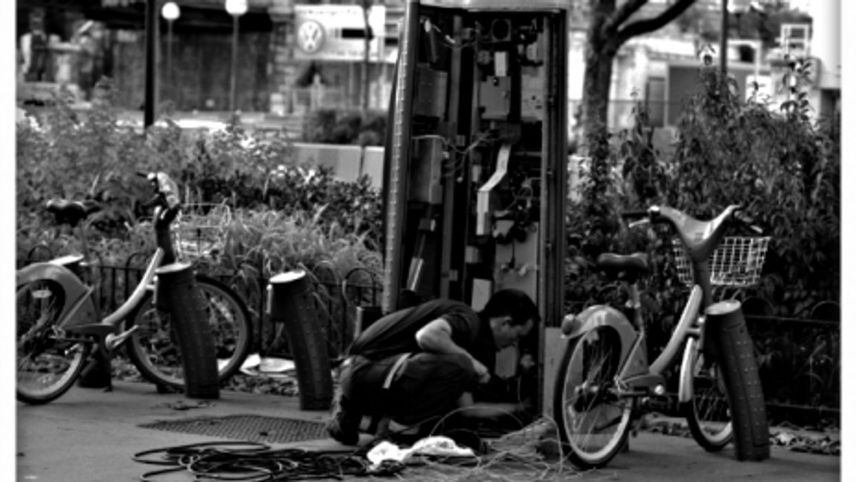 Repairing a Velib station in Paris