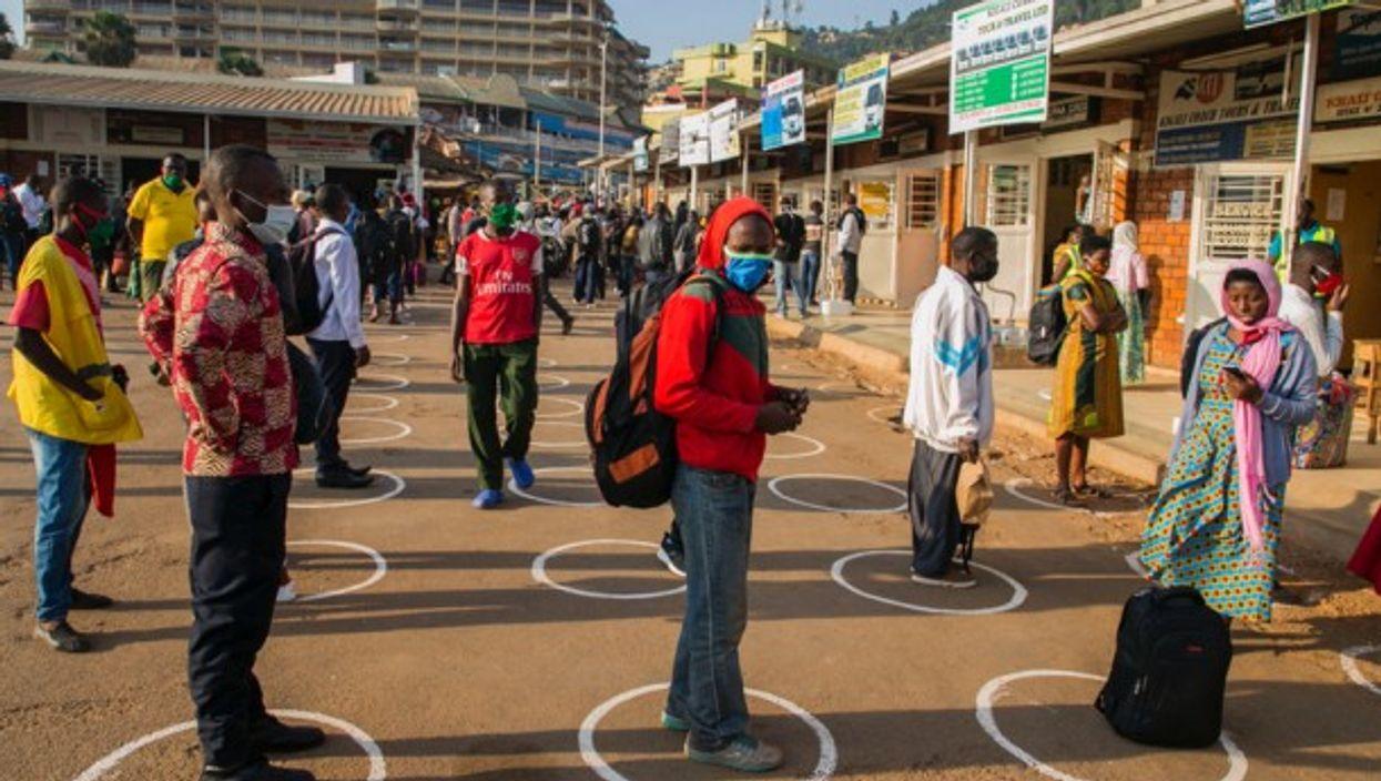 Respecting social distancing n Kigali, Rwanda