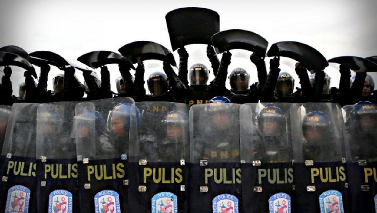 Riot police in Manila