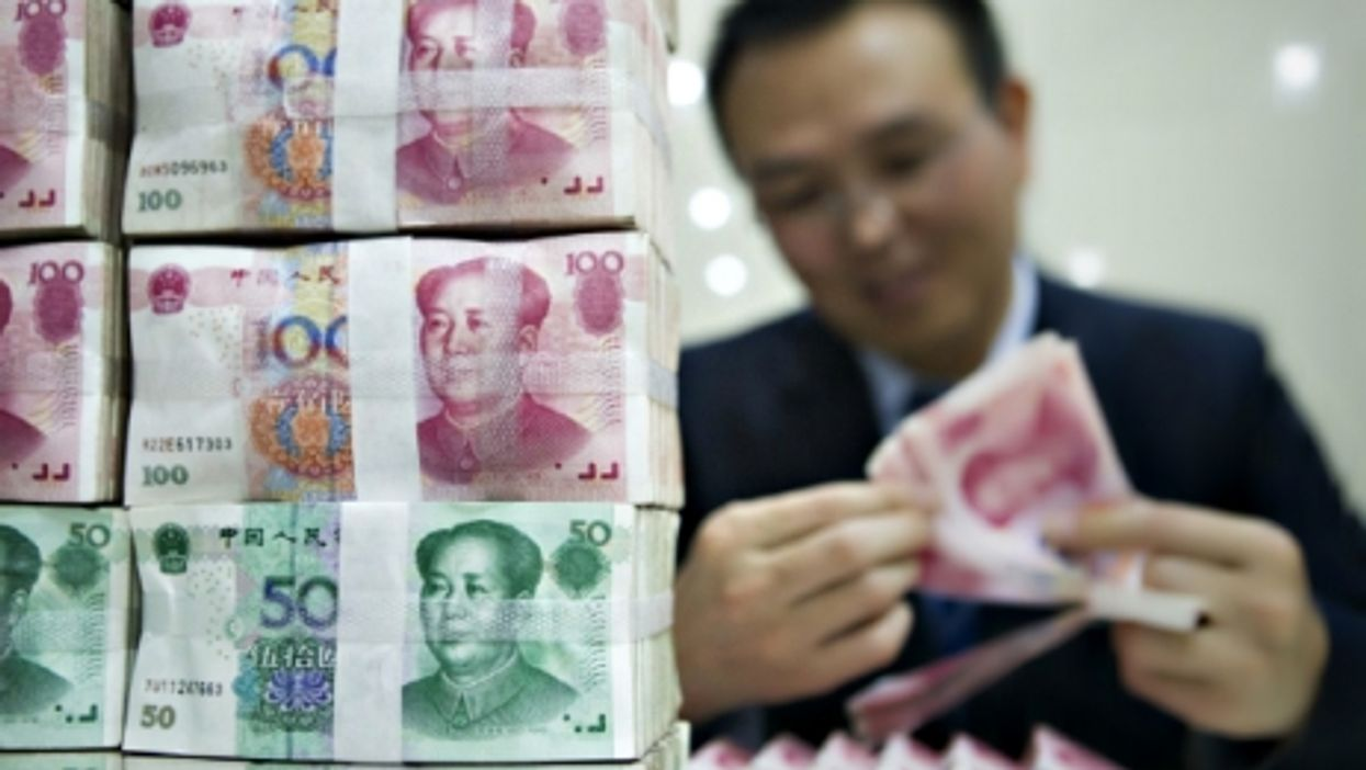 RMB banknotes at Beijing's Bank of China