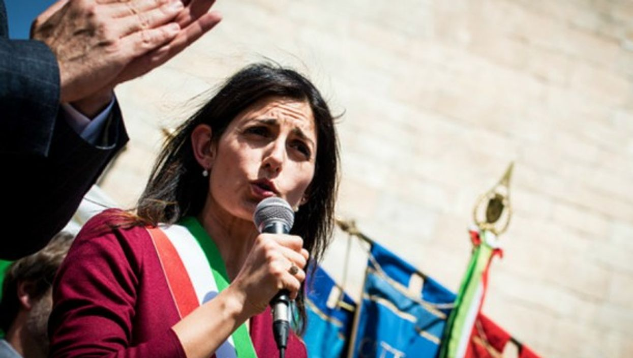 Rome's first female Mayor Virginia Raggi, during the anniversary event of the liberation from Nazi-Fascism.