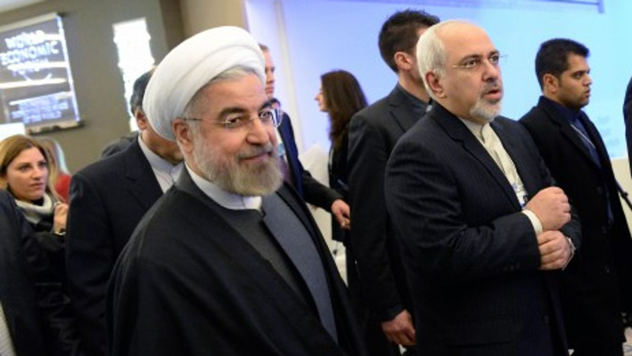 Rouhani at the World Economic Forum with foreign minister Mohammad-Javad Zarif