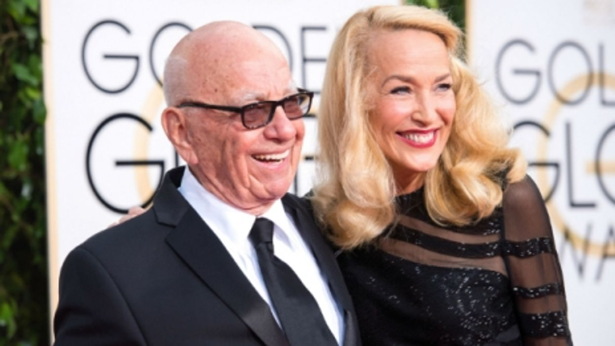 Rupert Murdoch and Jerry Hall at the Golden Globe Awards 2016 in Beverly Hills