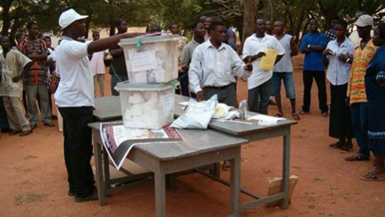 Rural poll station in Ghana