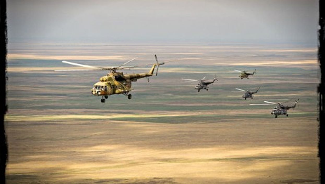 Russian helicopters flying over Kazakhstan