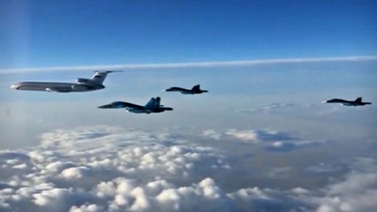 Russian planes heading back to Russia from Hmeimim, Syria, on March 15