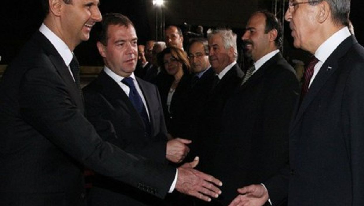 Russian President Medvedev introducing Bashar al-Assad to Foreign Minister Lavrov in Damascus in May 2010 (www.kremlin.ru)
