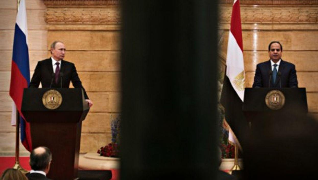 Russia's Vladimir Putin and Egypt's Abdel Fattah al-Sisi in Cairo on Feb. 10