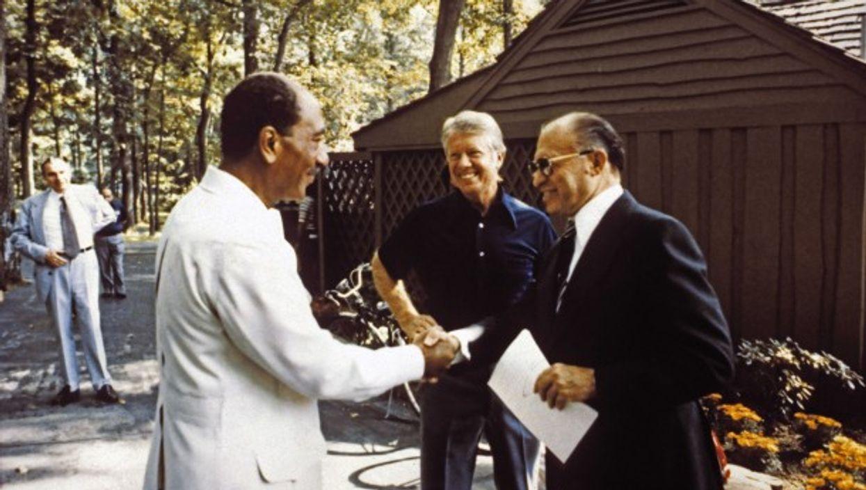 Sadat, Carter and Begin during final Camp David talks