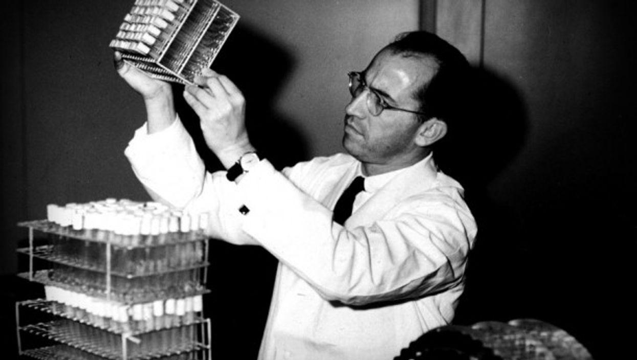 Salk in his laboratory