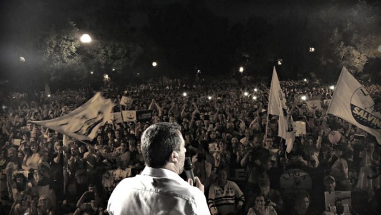 Salvini at a June 3 rally in Italy