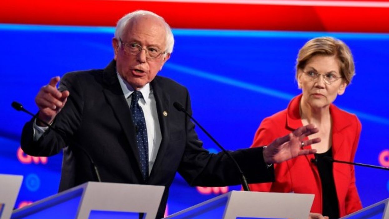 Sanders and Warren at the July 30 debate