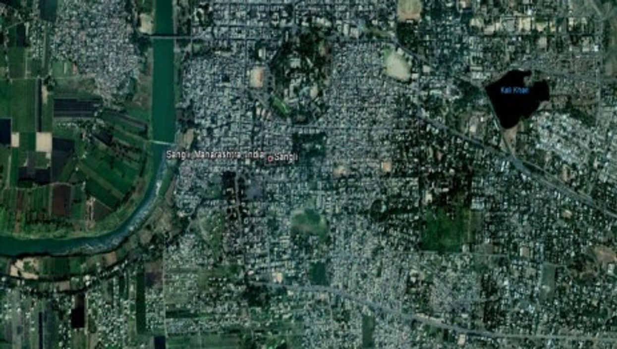 Sangli seen from above on Google Earth.