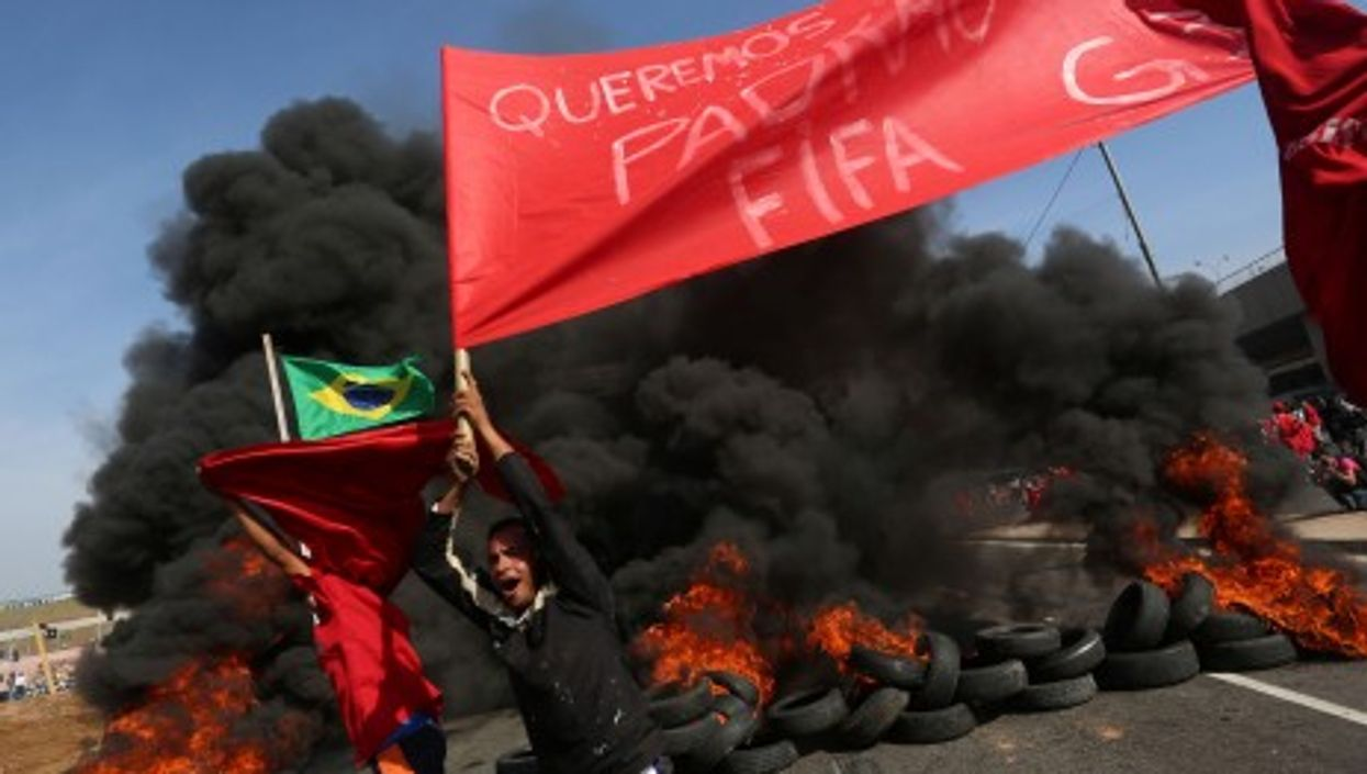 Sao Paulo protests on May 15, 2014, against the cost of hosting the football World Cup.