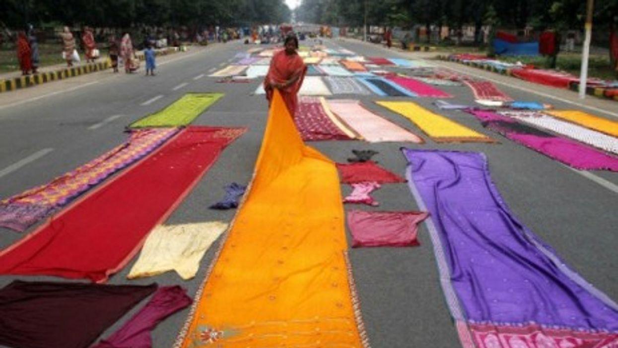 """Sari protest in Bhubaneswar, India"