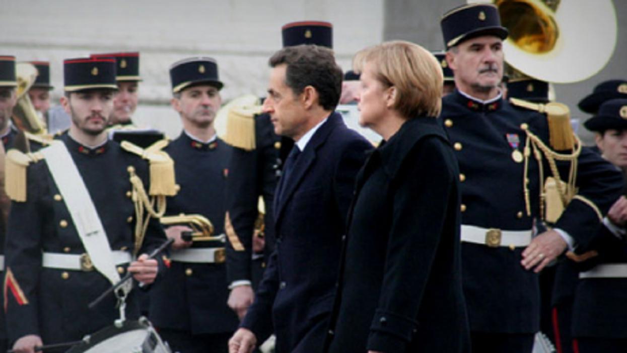 Sarkozy and Merkel in Paris, in 2009 (Anna Tesar)