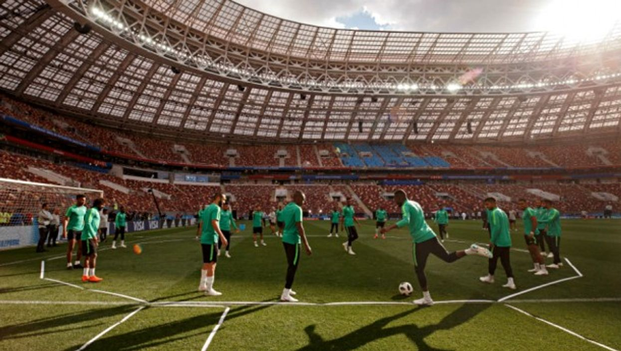 Saudi Arabia players during official training before opening match of the World Cup 2018