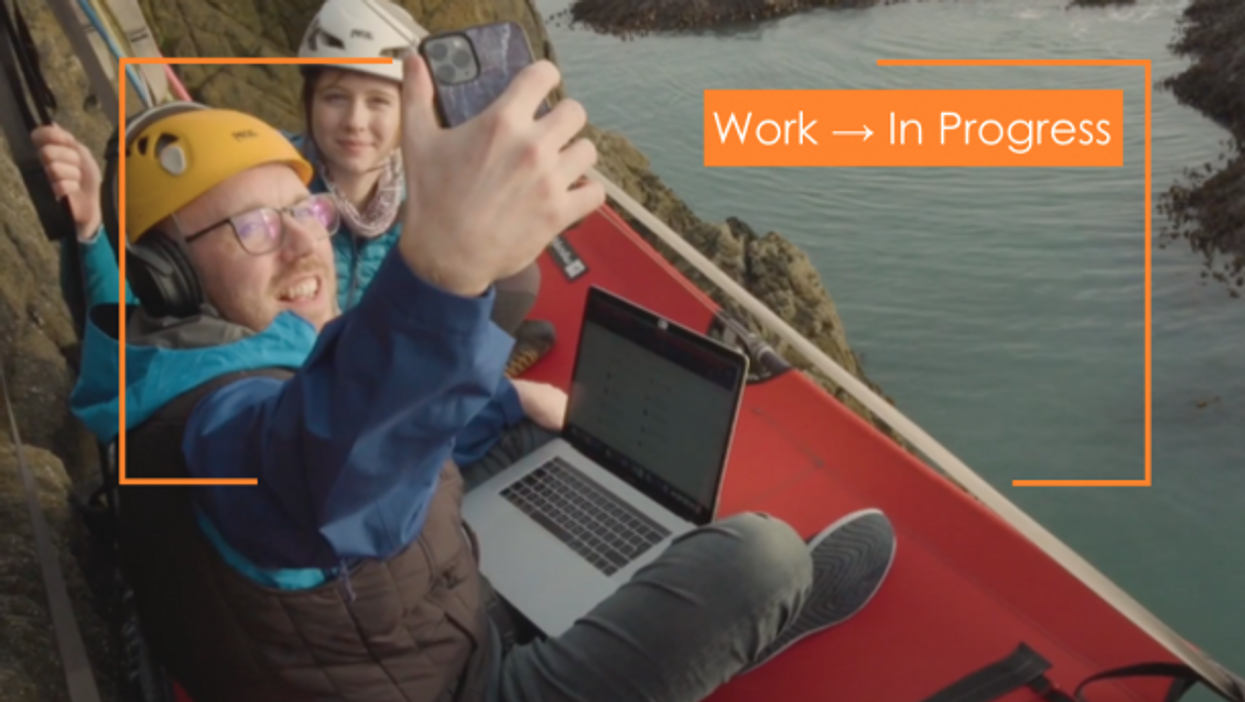 Scottish call-center consultant Jason Griffin suspended his new workspace from a cliff in Wales